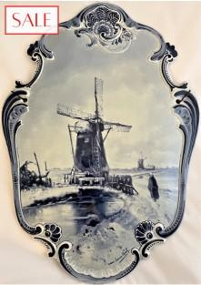 Antique plaque Windmill in winter landscape, Royal Delft. Antieke plaquette Molen in winterlandschap, De Porceleyne Fles.
