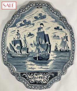 Antique, Delft blue plaque with ships from 1788. Antieke Delftsblauwe plaquette met schepen uit 1788.