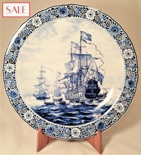 Large plate with ship 7 Provinces, Royal Delft. Groot bord schip de 7 Provinciën, De Porceleyne Fles.