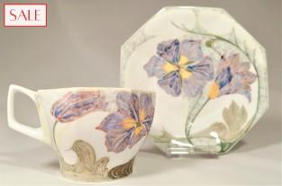 Antique eggshell porcelain cup and saucer, Rozenburg. Antieke kop en schotel, eierschaal porselein, Rozenburg.