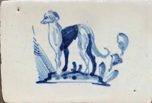Rand tegel met hond ca. 1650