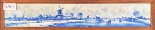 Tile panel winter scene, Royal Delft. Tegeltableau wintertafereel, De Porceleyne Fles.