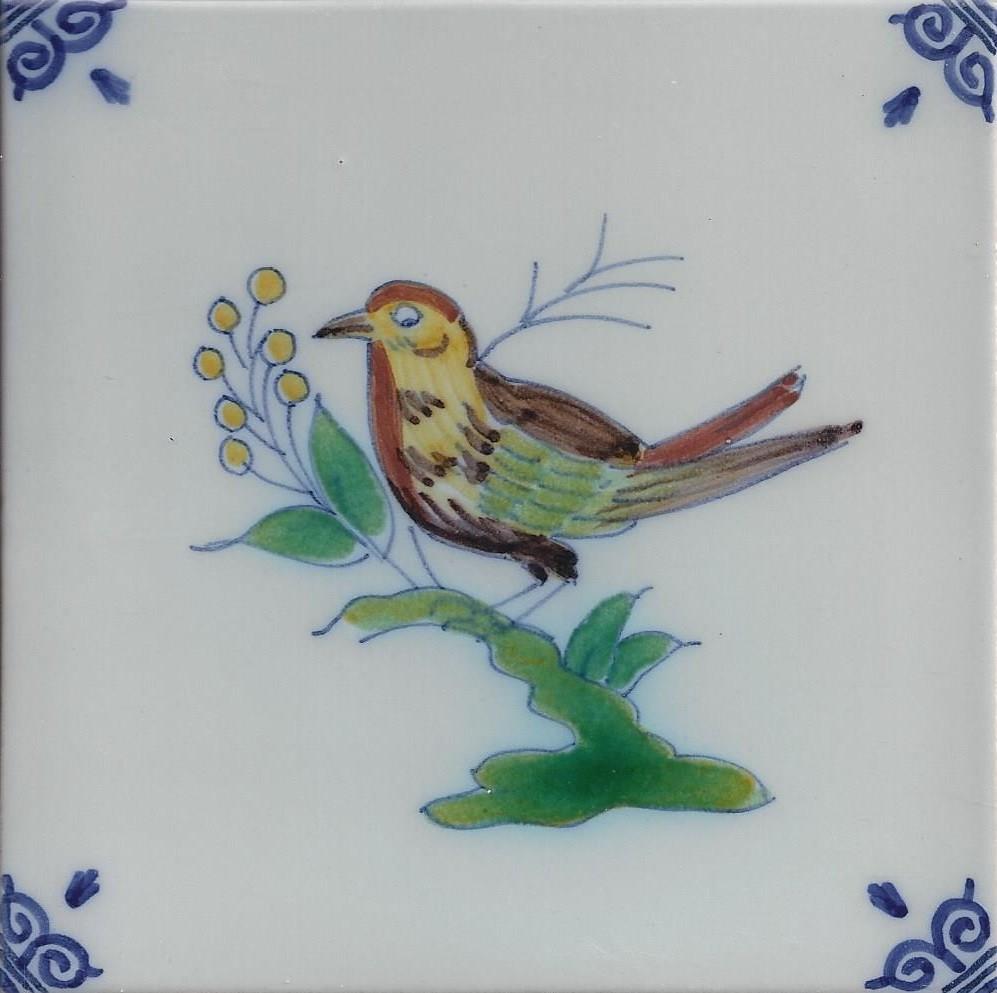 Lijster vogels makkum kleur makkum tegels nieuwe for Tichelaar makkum tegels
