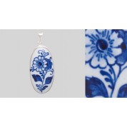 Medaillon in zilveren rand bloem-20