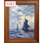 Tile panel ships at sea, Royal Delft. Schepen op zee tegeltableau, De Porceleyne Fles.-20