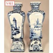 Set of two small vases, Royal Delft. Set van twee kleine vazen, De Porceleyne Fles.-20