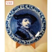 Plate with portrait of Rembrandt van Rijn, Royal Delft. Wandbord zelfportret Rembrandt van Rijn, De Porceleyne Fles.-20