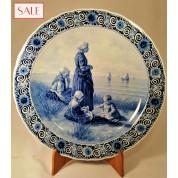 Plate with beach view, Royal Delft. Wandbord strandgezicht, De Porceleyne Fles.-20