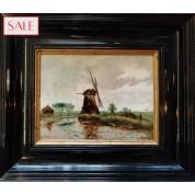 Tile in frame with windmill, Rozenburg. Tegel in lijst met molen, Rozenburg.-20