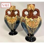 Set of two small antique vases, Rozenburg. Set van twee kleine antieke vazen, Rozenburg.-20