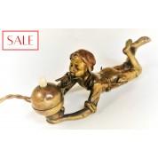 Antique Vienna bronze servant's bell of a smoking boy. Antieke Weens bronzen dienstbode bel van een rokende jongen.-20