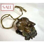Antique Vienna bronze servant's bell of a wiener dog's head. Antieke Weens bronzen dienstbode bel van de kop van een tekkel.-20