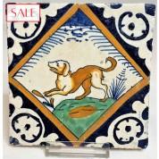 Polychrome tile with a dog, circa 1625. Polychrome tegel met een hond, circa 1625.-20