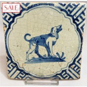 Tile with a dog, circa 1625. Tegel met een hond, circa 1625.-20