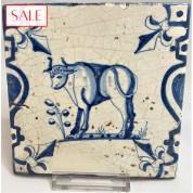 Tile with a bull, circa 1625. Tegel met een stier, circa 1625.-20