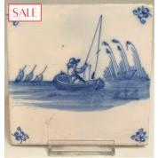 Tile with a fisherman in a boat, circa 1725. Tegel met een visser in een boot, circa 1725.-20