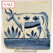 Tile with a Frisian cow, circa 1790. Tegel met een Friese koe, circa 1790.-20