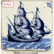 Tile with a Dutch ship, circa 1650. Tegel met een schip, circa 1650.-20