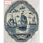 Antique, Delft blue plaque with ships from 1788. Antieke Delftsblauwe plaquette met schepen uit 1788.-20