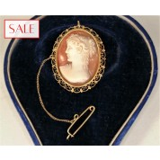 Antique gold 14K cameo broche. Antieke gouden 14K camee broche.-20
