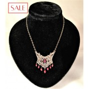 Silver necklace with ruby, sapphire and rose cut diamond. Zilveren collier met robijn, saffier, en roosgeslepen diamant.-20