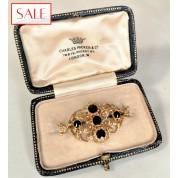 Gold 14K brooch with garnet. Gouden 14K broche met granaat.-20