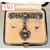 Antique silver brooche with rose cut diamonds. Antieke zilveren broche met roosgeslepen diamanten.-20