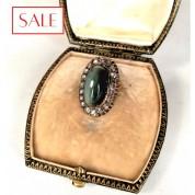 Antique gold 14K brooche with hawk's eye stone and diamonds. Gouden 14K broche met haviksoog steen en diamanten.-20