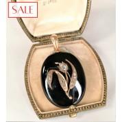 Antique 14k gold pendant/medallion with onyx and rose cut diamond. Antieke gouden 14k hanger/medaillon met onyx en roosgeslepen diamant.-20