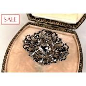Antique silver broche with rose cut diamonds. Antieke zilveren broche met roosgeslepen diamanten.-20
