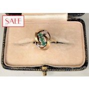 Vintage 14K yellow gold ring with emeralds and diamonds. Vintage 14K geelgouden ring met smaragden en diamanten.-20