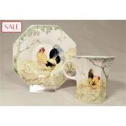 Antique eggshell porcelain cup and saucer, Rozenburg. Antieke kop en schotel, eierschaal porselein, Rozenburg.-20
